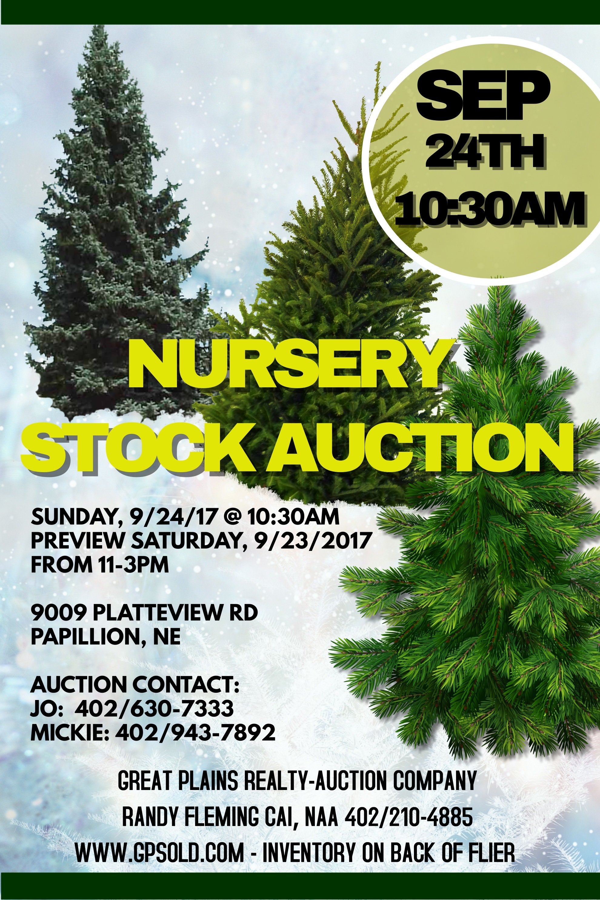 Complete auction listing is posted under the pdf icon